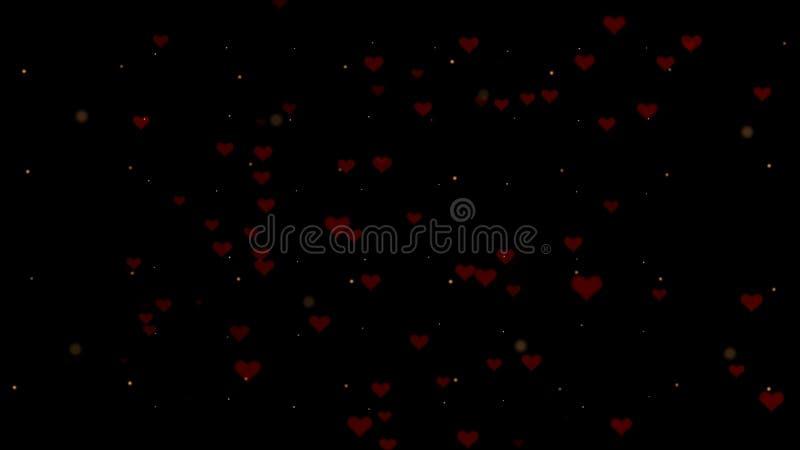 Fundo do amor com coração vermelho para o dia de Valentim Backgrop preto escuro ilustração royalty free