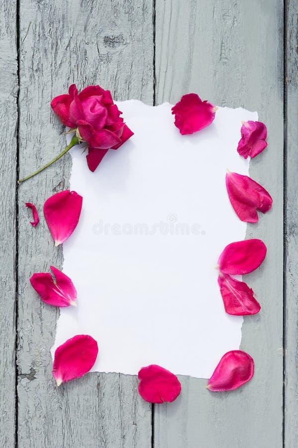 Fundo do amor com espaço da cópia para o texto Livro Branco na tabela de madeira com rosa do vermelho e opinião superior das péta imagens de stock