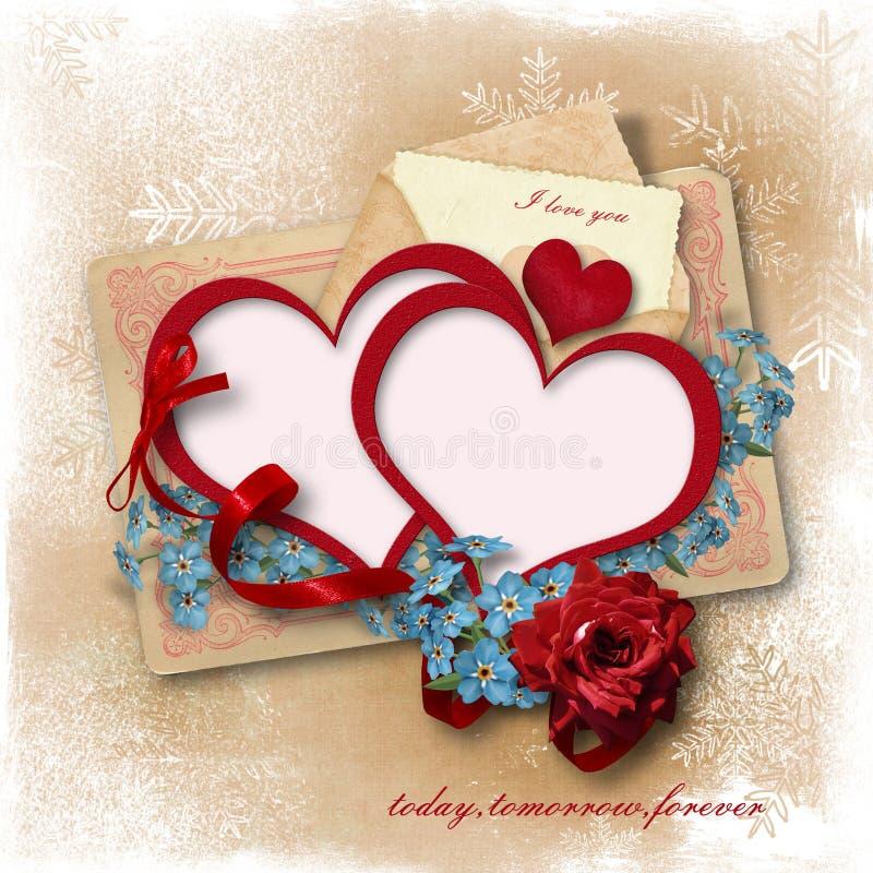 Fundo do amor do vintage com flores e coração-quadros ilustração royalty free
