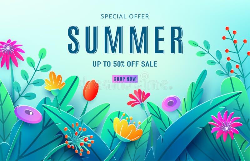 Fundo do anúncio da venda do verão com as flores cortadas de papel da fantasia, folhas, haste isolada em claro - contexto azul Es ilustração stock