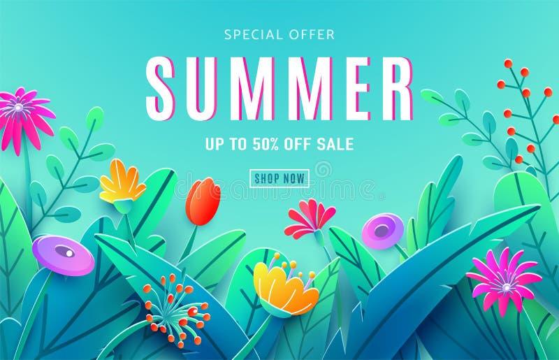 Fundo do anúncio da venda do verão com as flores cortadas de papel da fantasia, folhas, haste isolada no contexto do céu azul Est ilustração stock