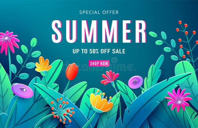 Fundo do anúncio da venda do verão com as flores cortadas de papel da fantasia, folhas, haste isolada no contexto escuro Estilo 3 ilustração royalty free