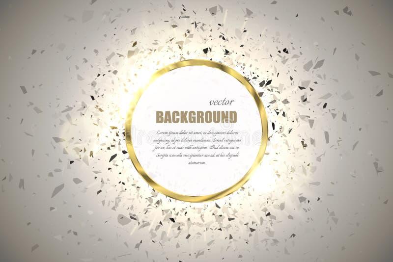 Fundo do anel do vetor Quadro redondo do brilho do cromo do metal com efeito da luz da faísca e explosão grande ilustração royalty free