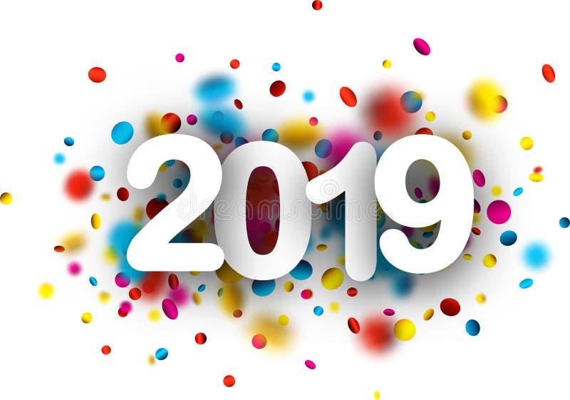 fundo do ano 2019 novo com confetes coloridos ilustração stock