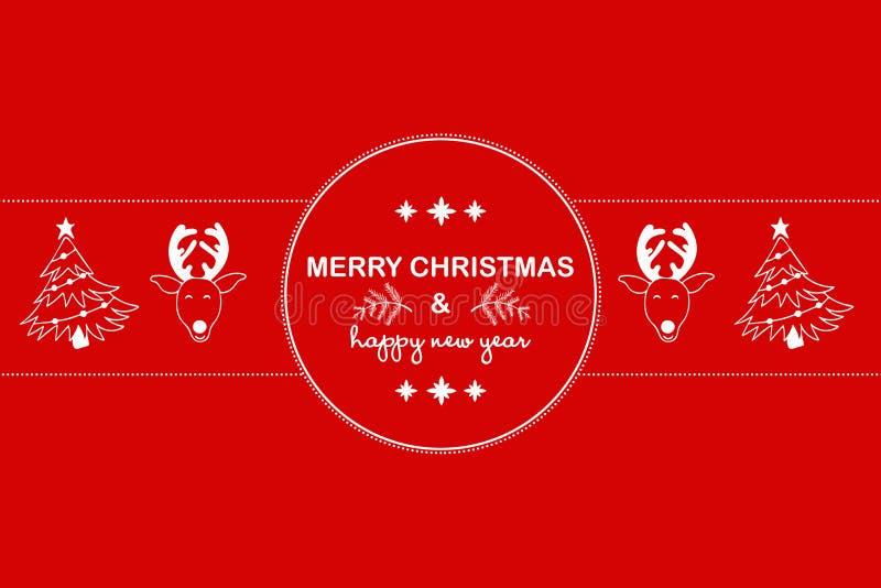 Fundo 2019 do ano novo com figuras, cervos, árvore de Natal no fundo vermelho Composição 2019 do ano novo Configuração lisa, vist ilustração royalty free