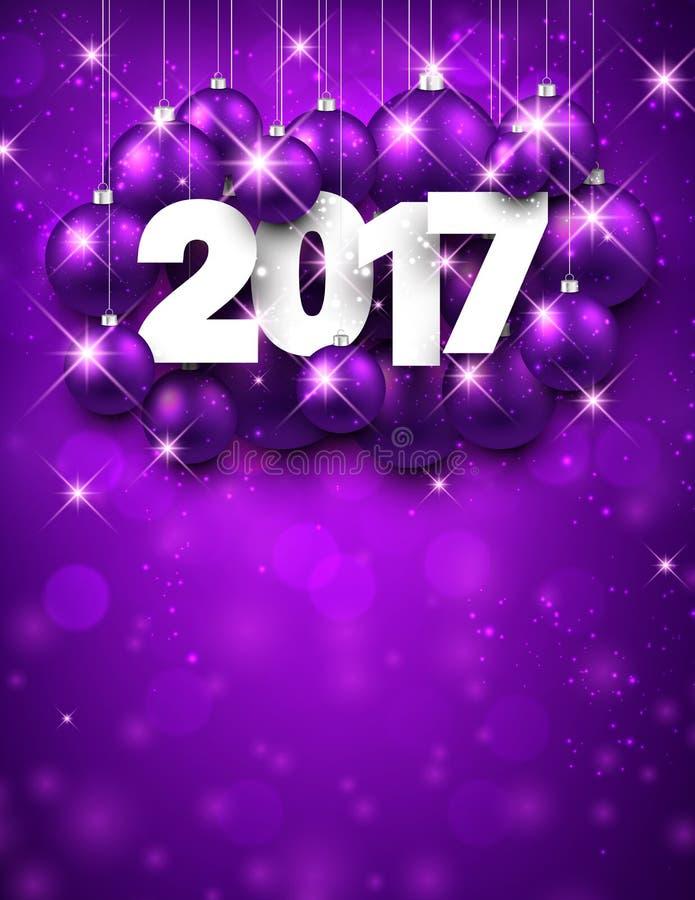 Fundo do ano novo do roxo 2017 ilustração stock