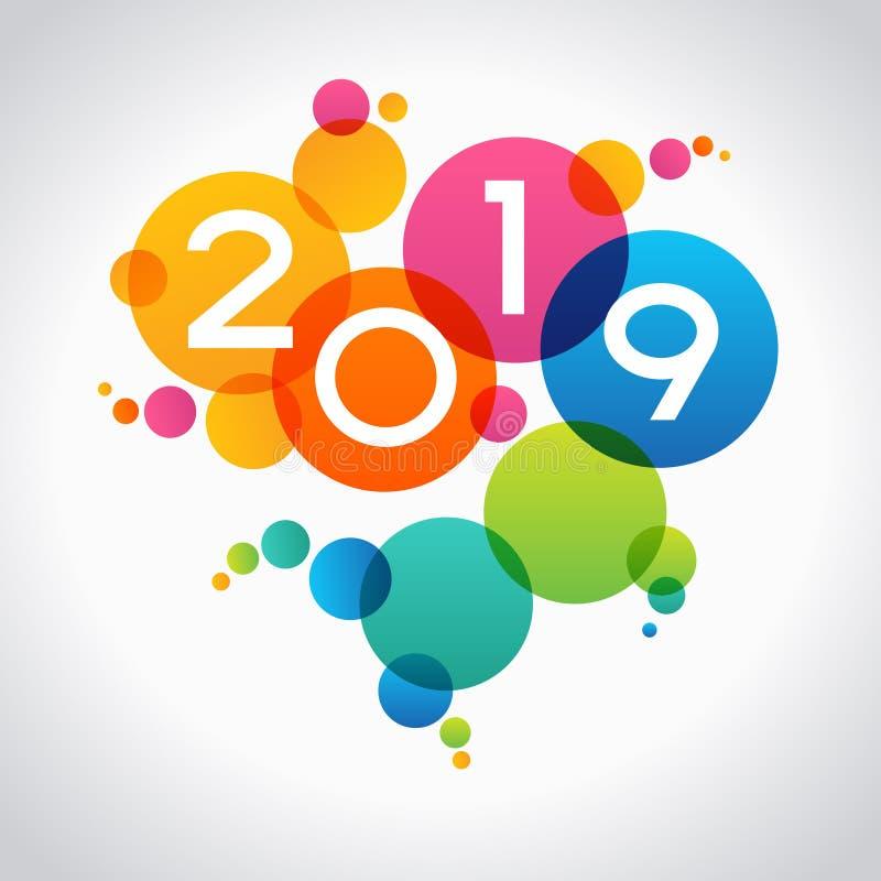Fundo do ano 2019 novo feliz ilustração stock