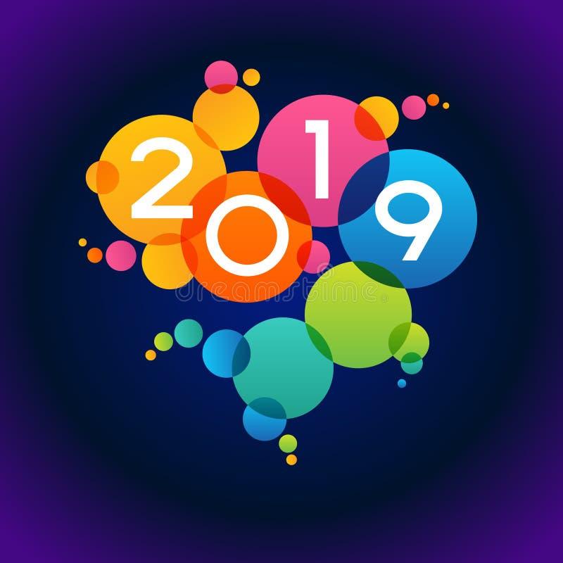 Fundo do ano 2019 novo feliz ilustração royalty free