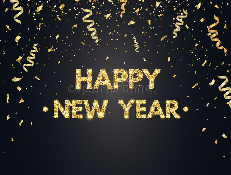 Fundo do ano 2019 novo feliz com confetes, brilho, sparkles e estrelas do ouro Contexto feliz do feriado com dourado ilustração stock