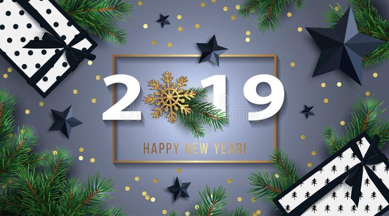 Fundo 2019 do ano novo feliz com estrelas pretas, caixas de presentes, o floco de neve de brilho do ouro, e os ramos do abeto ilustração stock