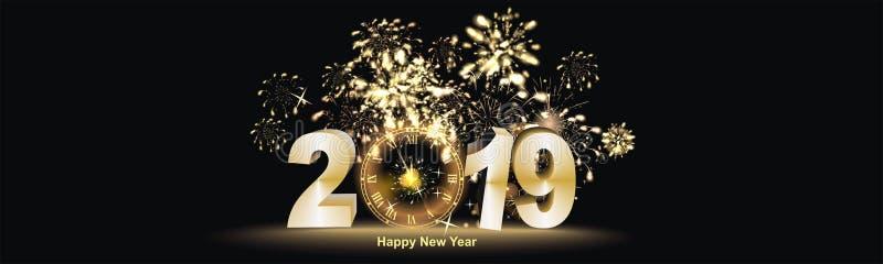 Fundo do ano novo feliz com fogo de artifício ilustração stock