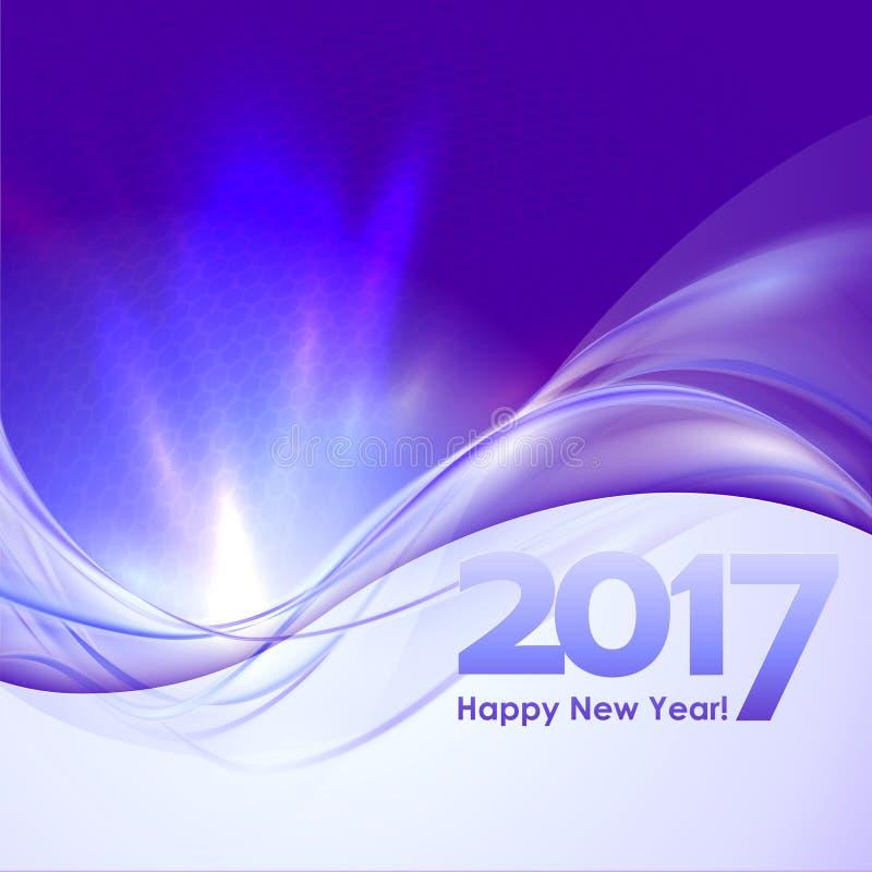 Fundo do ano novo feliz com onda azul ilustração do vetor
