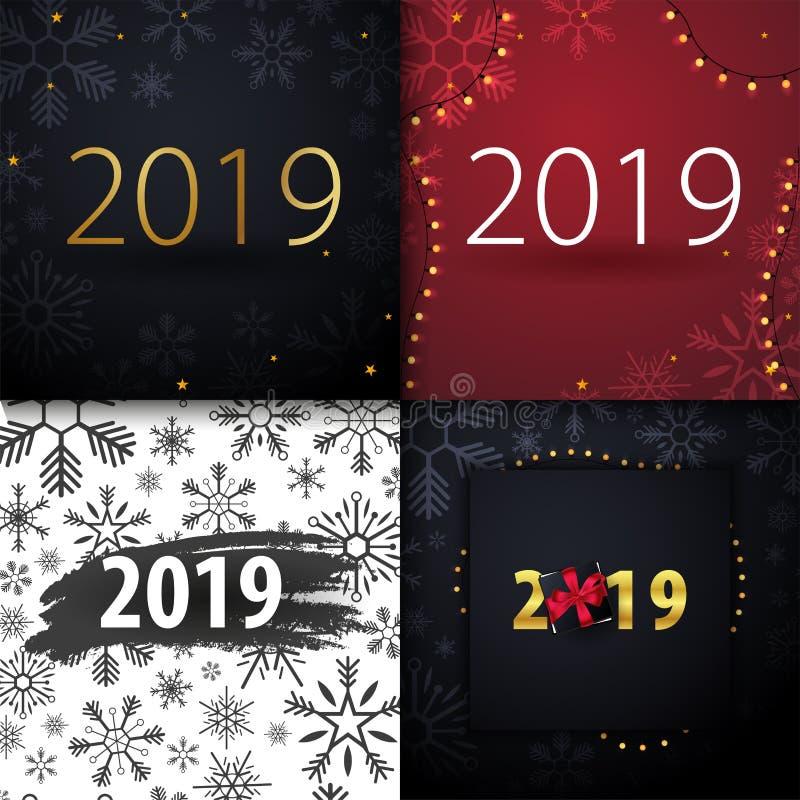 Fundo do ano 2019 novo feliz com os flocos de neve para seus convites temáticos sazonais dos insetos e do cartão ou do Natal de c ilustração stock