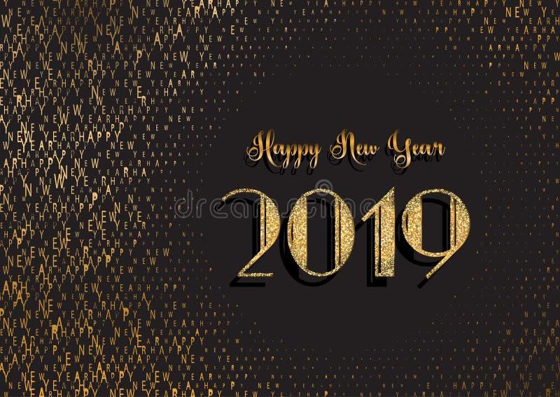 Fundo do ano novo feliz com projeto glittery e da tipografia ilustração stock