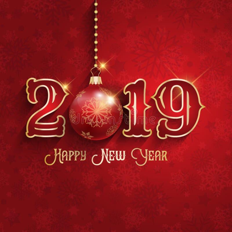 Fundo do ano novo feliz com quinquilharia de suspensão ilustração stock