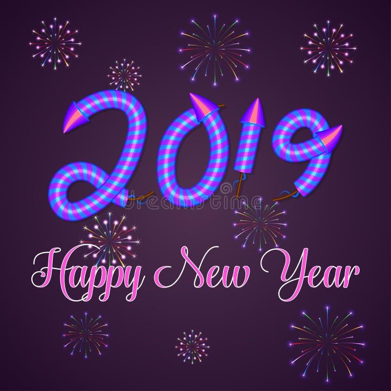 Fundo do ano 2019 novo feliz com rotulação e efeito tirados mão do texto dos fogos de artifício do foguete Molde do projeto do an ilustração do vetor