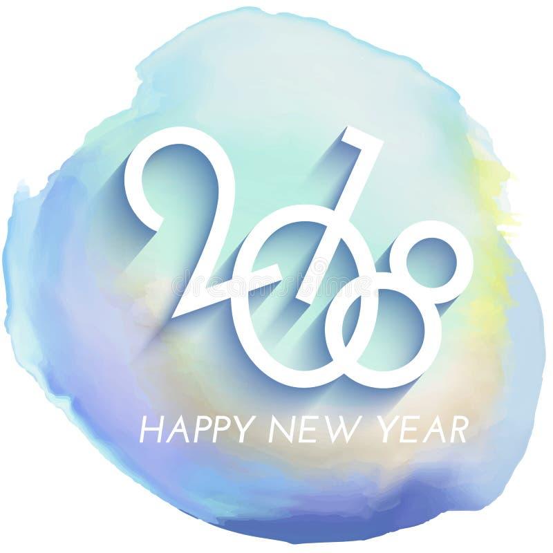 Fundo do ano novo feliz com textura do watercolour ilustração do vetor