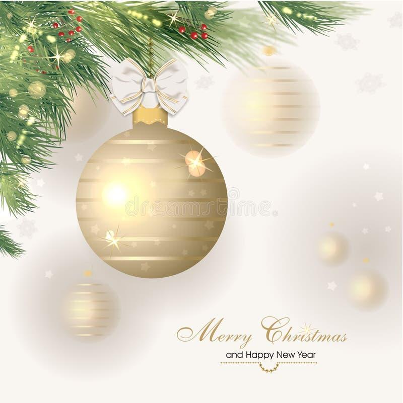 Fundo do ano novo feliz e do Natal ilustração royalty free