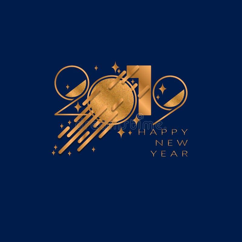 Fundo do ano 2019 novo feliz para convites temáticos dos insetos e do cartão ou do Natal de cumprimentos ilustração royalty free