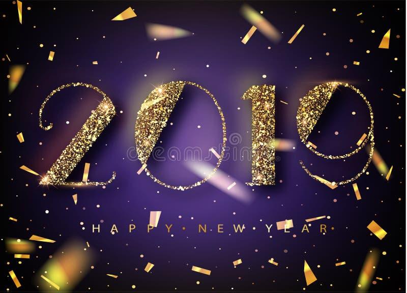 Fundo do ano 2019 novo feliz para seus convites temáticos sazonais dos insetos e do cartão ou do Natal de cumprimentos Bandeira c ilustração stock