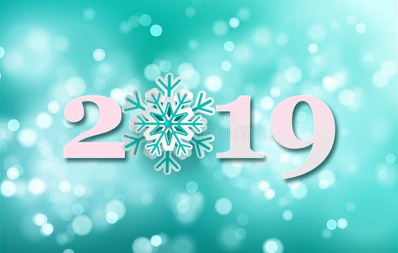 Fundo do ano 2019 novo feliz para seus convites temáticos sazonais dos insetos e do cartão ou do Natal de cumprimentos Vetor ilustração royalty free