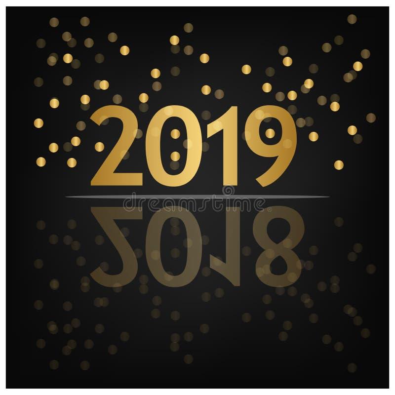 Fundo do ano 2019 novo feliz para seus insetos, bandeira, etiqueta, e cartão de cumprimentos sazonais 2018 a 2019 ilustração do vetor