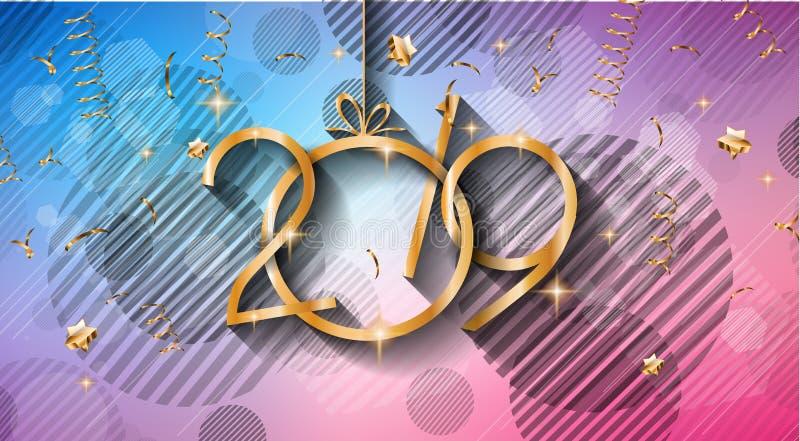 Fundo do ano 2019 novo feliz para seus insetos e Gree sazonais ilustração royalty free