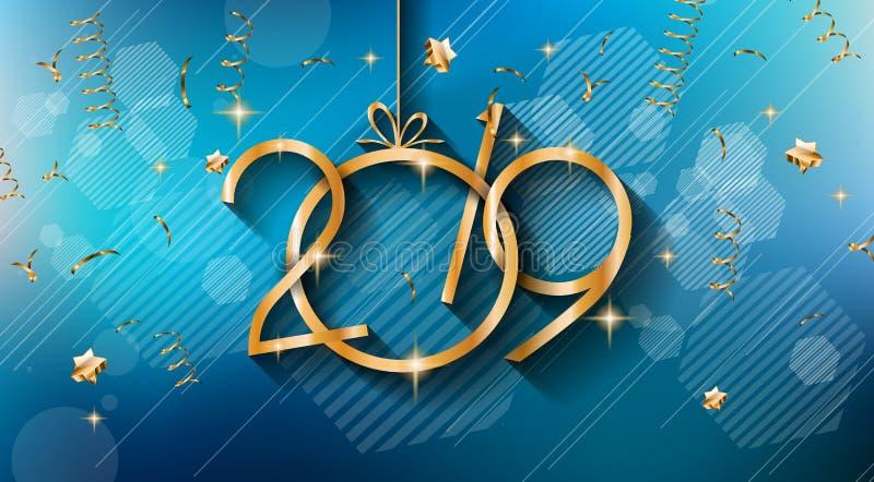 Fundo do ano 2019 novo feliz para seus insetos e Gree sazonais ilustração stock
