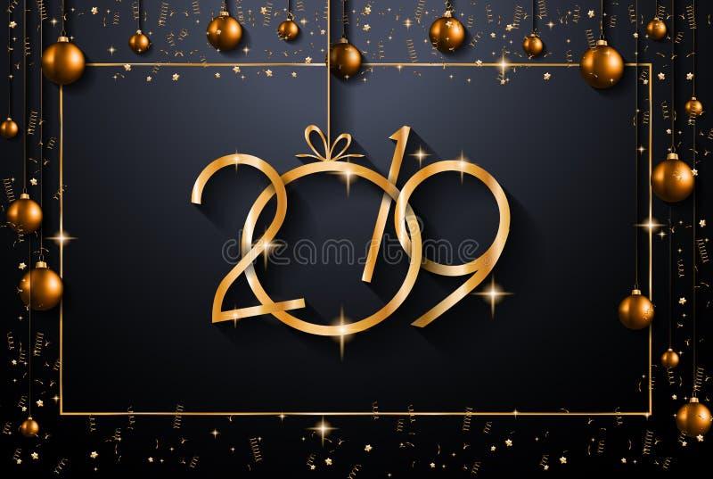 Fundo do ano 2019 novo feliz para seus insetos e Gree sazonais ilustração do vetor