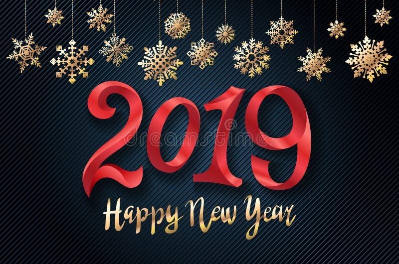 Fundo do ano novo feliz do vetor 2019 do ouro para seus convites temáticos sazonais dos insetos e do cartão ou do Natal de cumpri ilustração royalty free