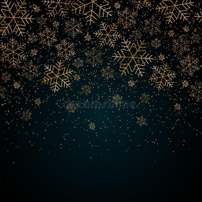Fundo do ano novo do Natal com flocos de neve do ouro e para brilhar teste padrão do Natal festivo azul do fundo do inverno e do  ilustração do vetor
