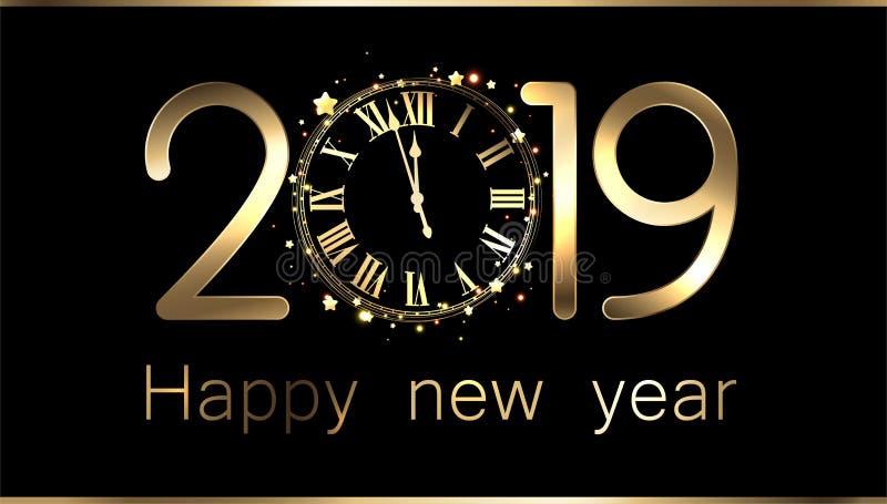 Fundo do ano novo do preto 2019 com pulso de disparo ilustração stock