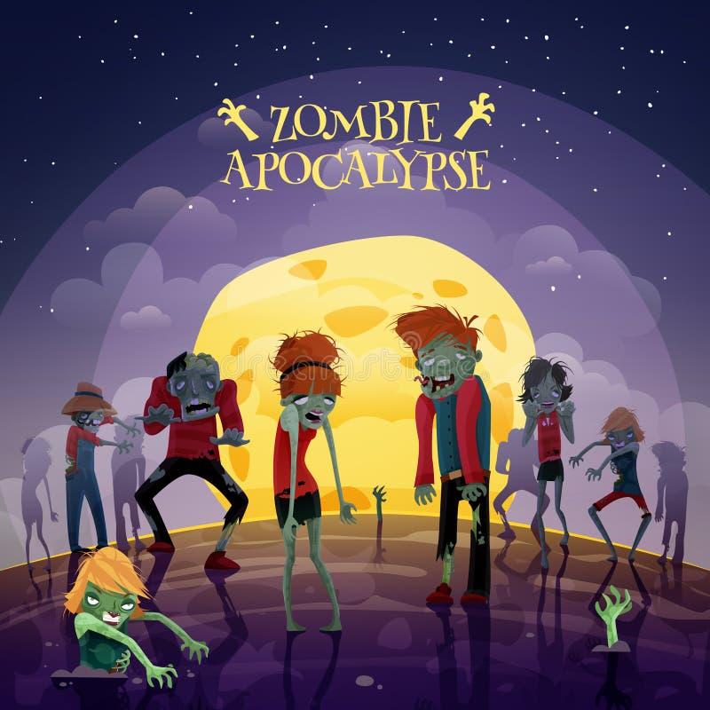 Fundo do apocalipse do zombi ilustração royalty free