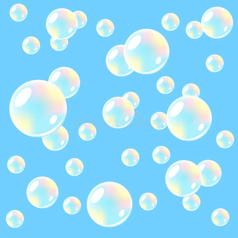 Fundo do ar com bolhas de sabão. Sem emenda. ilustração do vetor