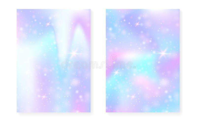 Fundo do arco-íris com inclinação da princesa do kawaii Unicórnio mágico ilustração royalty free