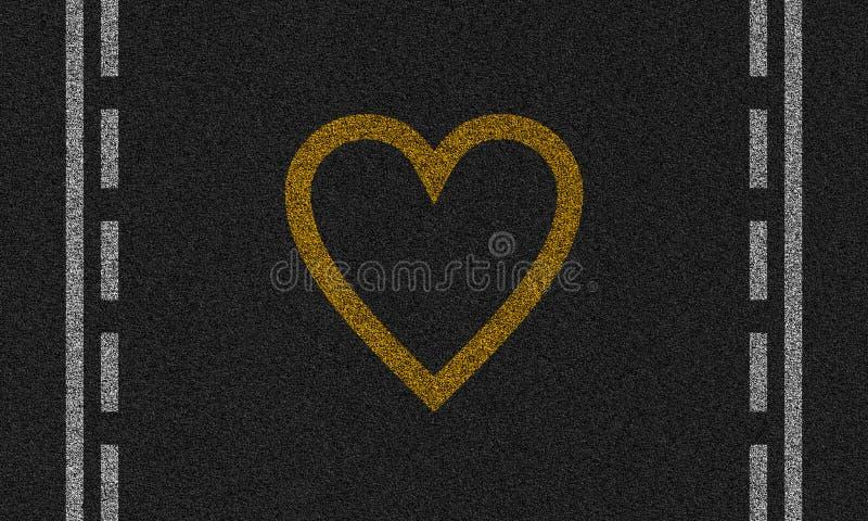 Fundo do asfalto com coração pintado imagem de stock