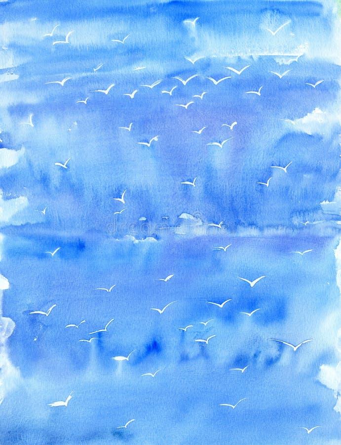 Fundo do azul da aquarela fotografia de stock