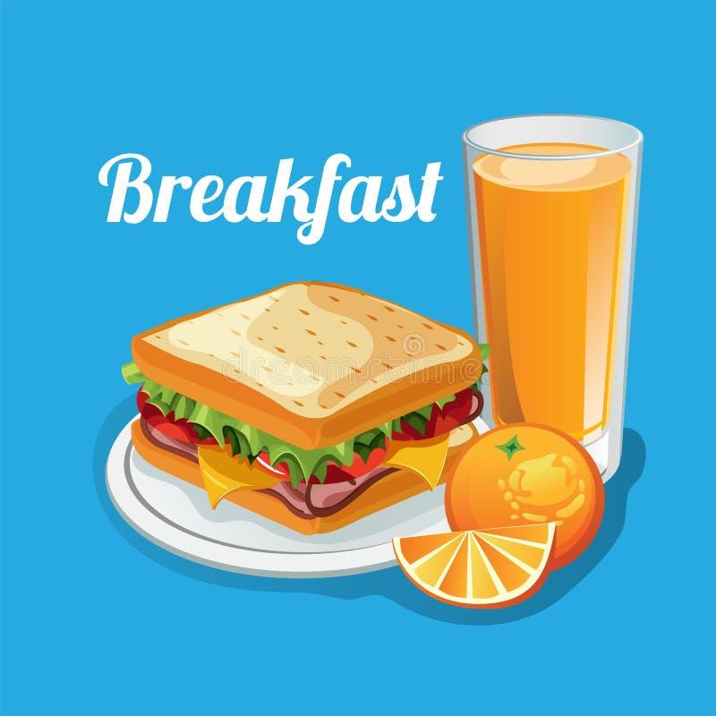 Fundo do azul da ilustração do vetor do sanduíche do café da manhã ilustração stock
