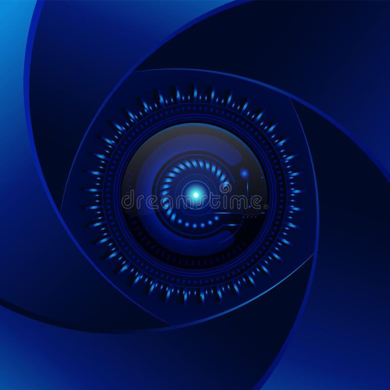 Fundo do azul da tecnologia Lente ciana da abertura Projeto moderno v ilustração royalty free