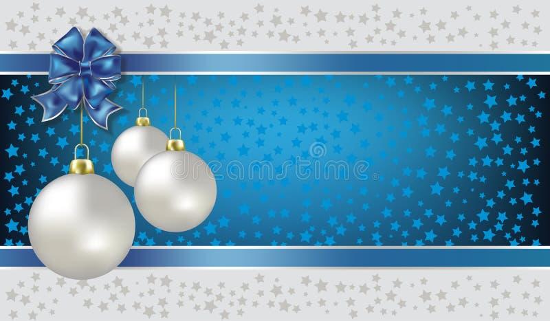 Fundo do azul das esferas e das estrelas do Natal ilustração do vetor