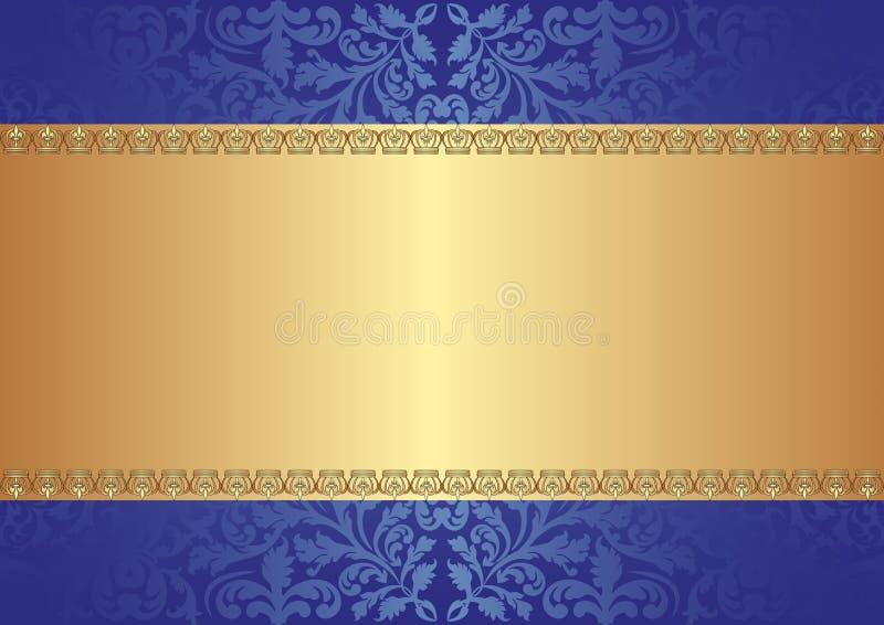 Fundo Do Azul Do Ouro Fotografia de Stock Royalty Free