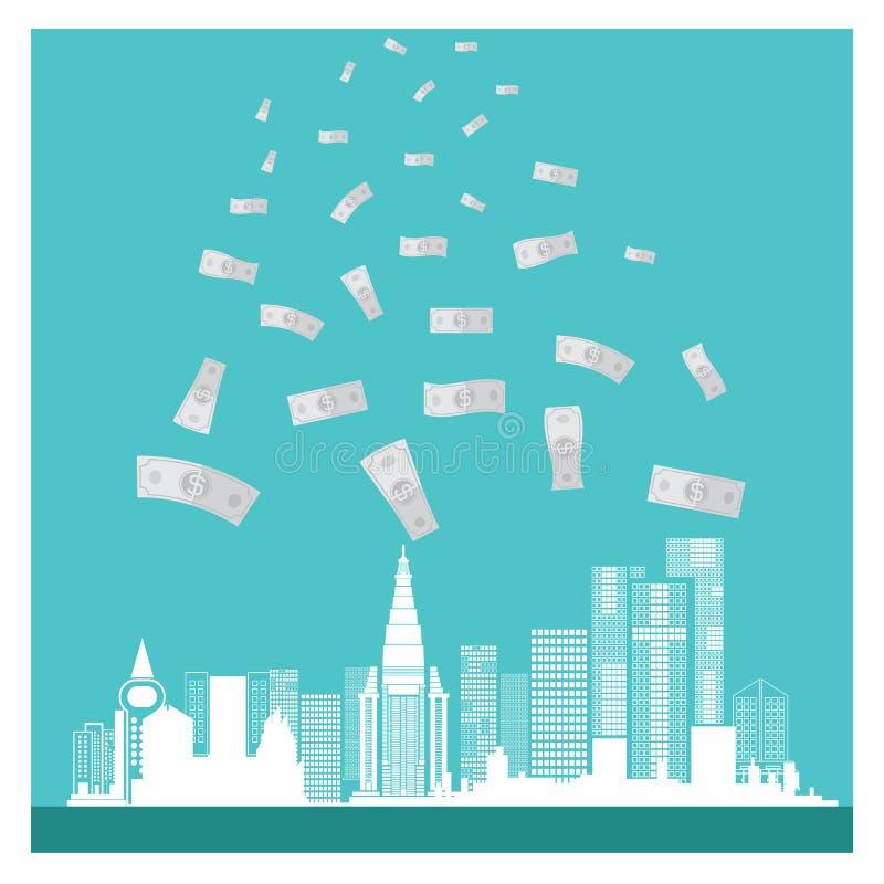 Fundo do azul do sucesso das construções do dinheiro do vetor do negócio ilustração do vetor