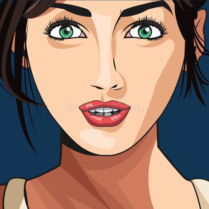 Fundo do azul dos olhos verdes do batom da cara da menina da beleza ilustração do vetor
