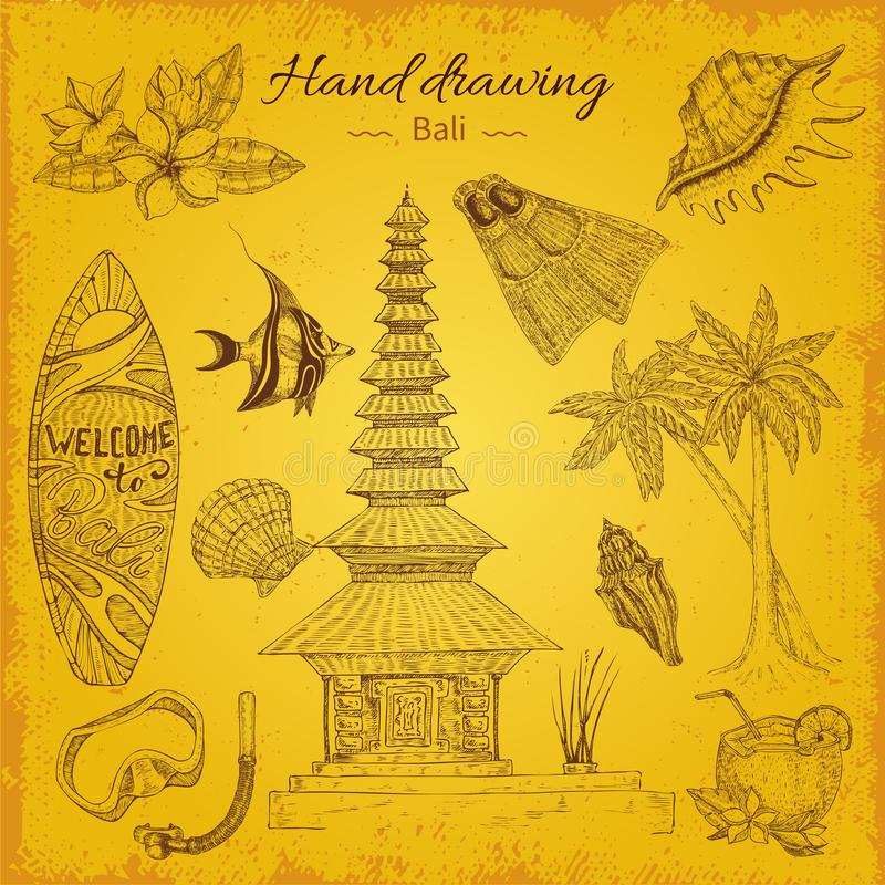Fundo do Balinese do desenho da mão ilustração royalty free