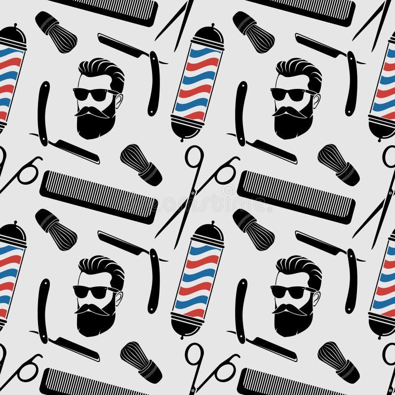 Fundo do barbeiro, teste padrão sem emenda com tesouras do cabeleireiro, escova de rapagem, lâmina, pente, cara do moderno e polo ilustração royalty free