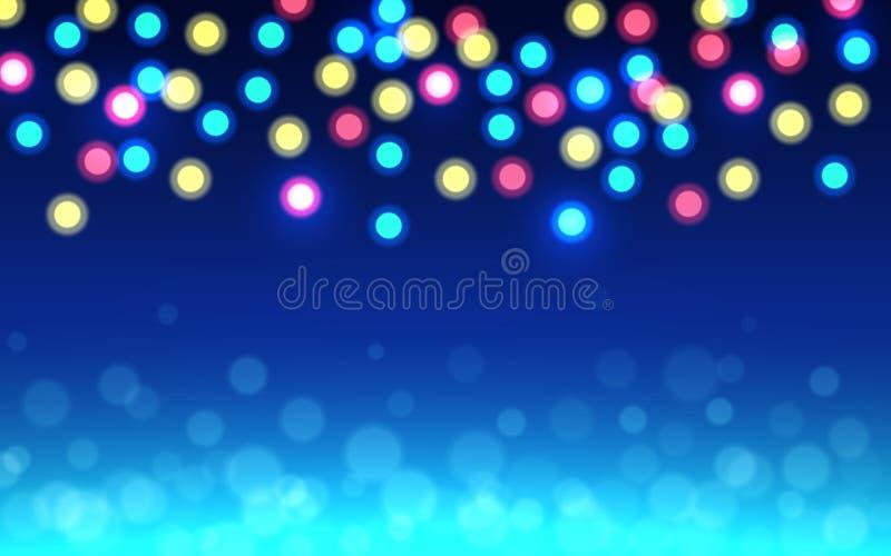 Fundo do bokeh do Natal Luzes defocused da cor no contexto azul Círculos de brilho abstratos Fulgor macio Unfocused ilustração royalty free