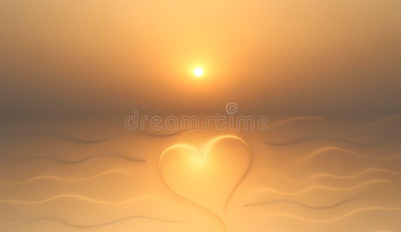 Fundo do bom dia com coração e sol imagem de stock royalty free