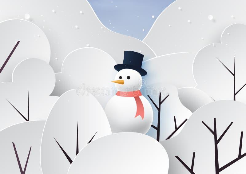 Fundo do boneco de neve e da paisagem da estação do inverno ilustração royalty free