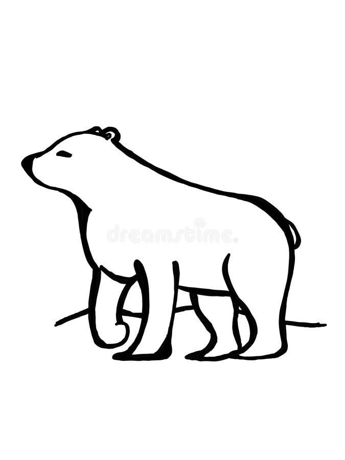 Fundo do branco da ilustração do desenho bonito dos desenhos animados e do discurso da ilustração do desenho do urso polar ilustração stock