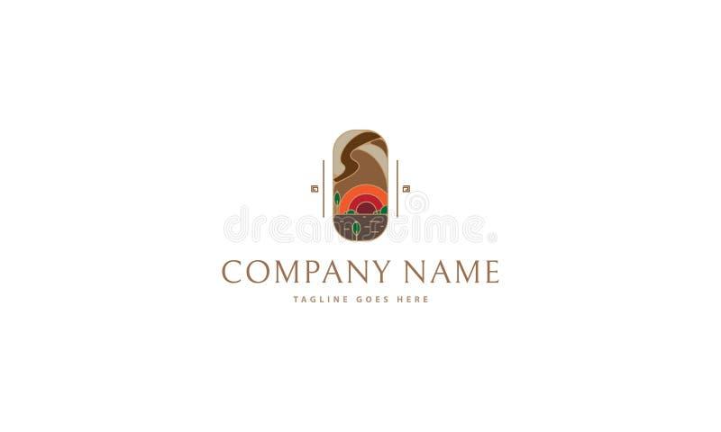 Fundo do branco da imagem do logotipo do vetor da paisagem da natureza ilustração stock